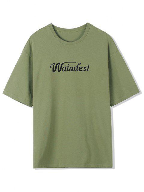 T-Shirt a Tinta Unita con Stampa Grafica - Verde XL Mobile