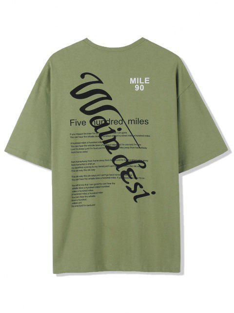 Texting Graphischer Druck Basic T-Shirt - Grün 2XL Mobile