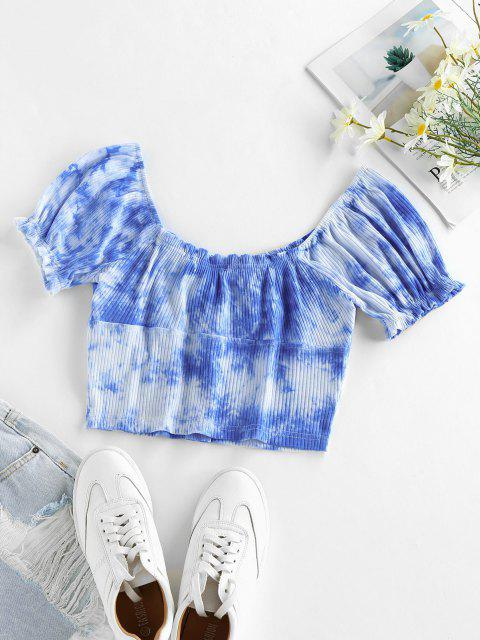 sale ZAFUL Tie Dye Puff Sleeve Crop Tee - OCEAN BLUE M Mobile