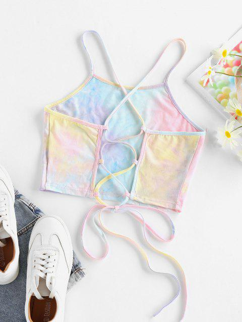 Top Cami Corto di Tie-Dye con Lacci di ZAFUL - Multi Colori-A S Mobile