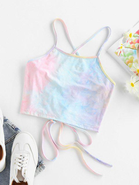 Top Cami Corto di Tie-Dye con Lacci di ZAFUL - Multi Colori-A M Mobile