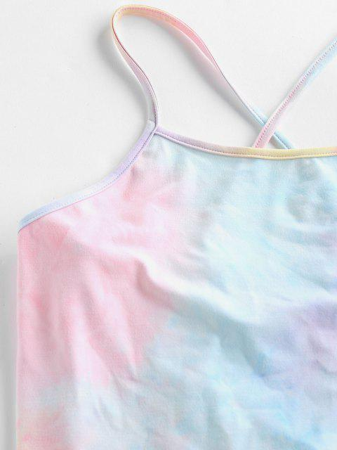 Top Cami Corto di Tie-Dye con Lacci di ZAFUL - Multi Colori-A XL Mobile