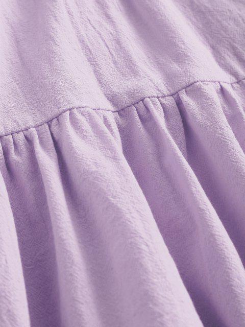 womens ZAFUL Button Embellished Smocked Flounce Hem Cami Dress - LIGHT PURPLE M Mobile