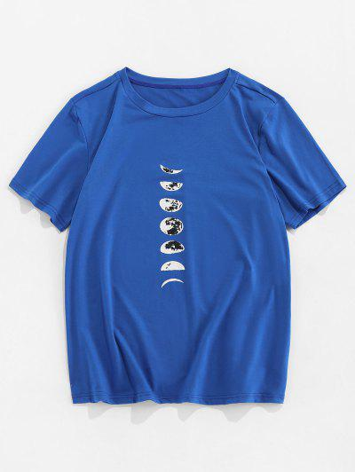 T-shirt Estampado De Mangas Curtas Com Lua - Azul 2xl