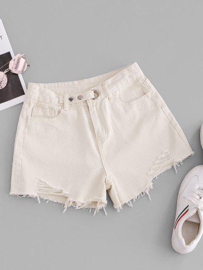 Grommet Frayed Hem Ripped Cutoff Shorts - Milk White L