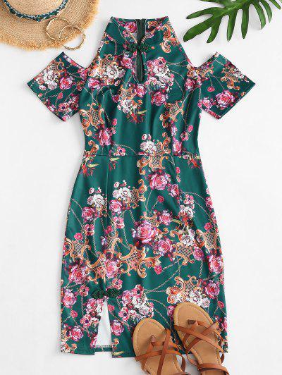 Vestido De Ombro Frio Com Impresso De Flor - Verde S