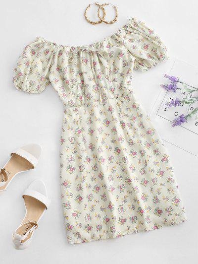 Tie Collar Ditsy Floral Mini Dress - Multi-a M