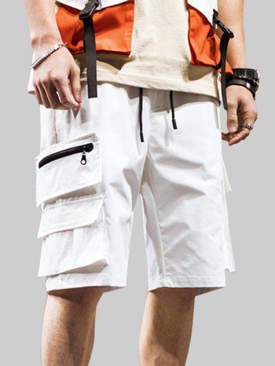 Zipper Pocket Decoration Casual Shorts - White 3xl