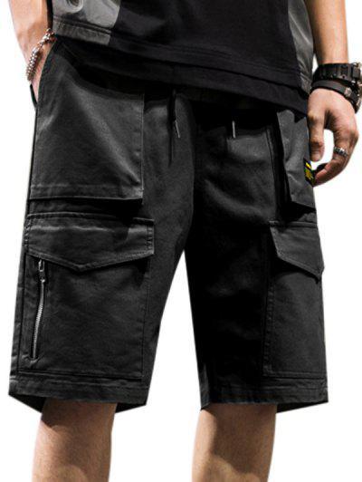 Shorts De Carga Con Cremallera Con Bolsillo - Negro M