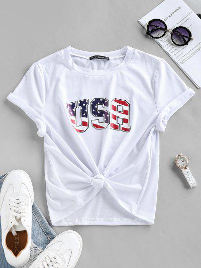 ZAFUL USA Patriotic American Flag T-shirt - White Xl