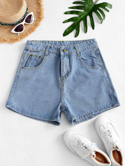 High Waisted Mini Denim Shorts - Light Blue Xs