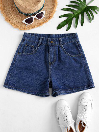 High Waisted Mini Denim Shorts - Denim Dark Blue S