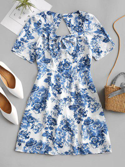 Cut Out Back Bow Tie Floral Mini Dress - Blue L
