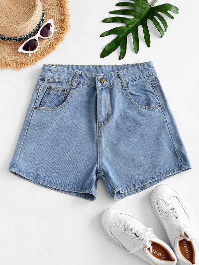 High Waisted Mini Denim Shorts - Light Blue S