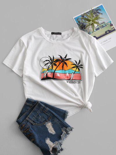 Beach Paradise Print Short Sleeve T-shirt - White L