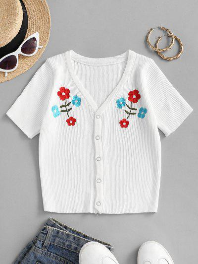 Snap Button Floral Embroidered Knitted Tee - White