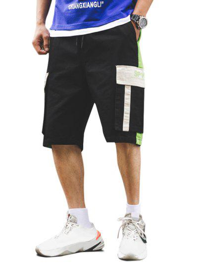 Letter Pattern Color Spliced Cargo Shorts - Black M