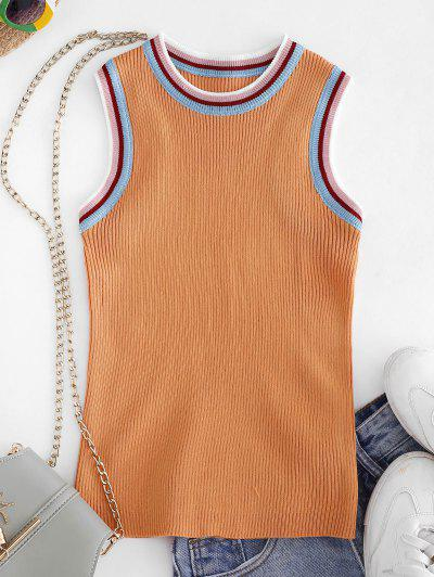 Crew Neck Stripes Panel Knitted Tank Top - Goldenrod
