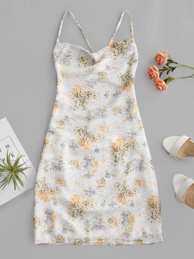 Criss Cross Open Back Floral Dress - White Xl