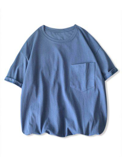 Solid Color Front Pocket Round Collar T-shirt - Slate Blue 2xl