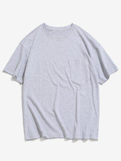 Solid Color Front Pocket Round Collar T-shirt - Dark Gray 3xl