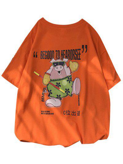 Pig Graphic Short Sleeve Lounge T Shirt - Pumpkin Orange S