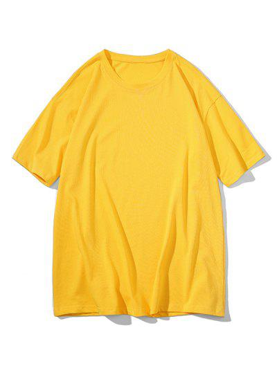 Crew Neck Pure Color Classic T-shirt - Bright Yellow 3xl
