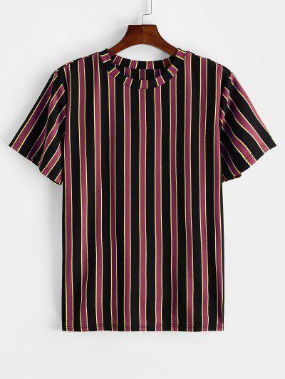 ZAFUL Colorblock Striped Print Short Sleeve T-shirt - Firebrick L
