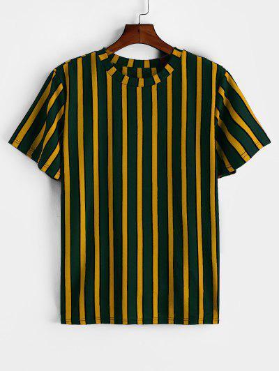 ZAFUL Colorblock Striped Print Short Sleeve T-shirt - Yellow 2xl