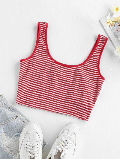 ZAFUL Ribbed Striped Crop Tank Top - Red Xl