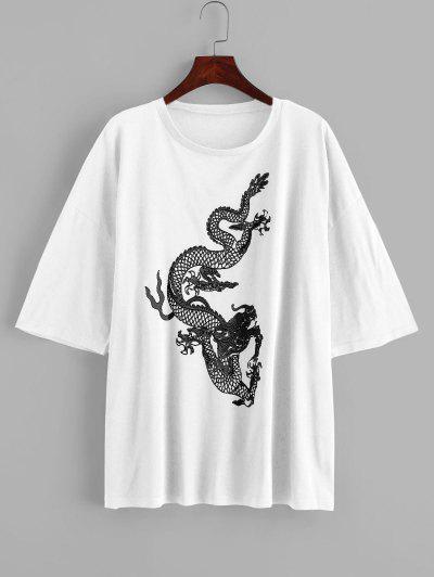 Dragon Print Oversized Longline Tee - White L