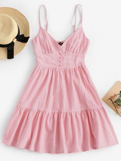 ZAFUL Button Embellished Smocked Flounce Hem Cami Dress - Pig Pink S