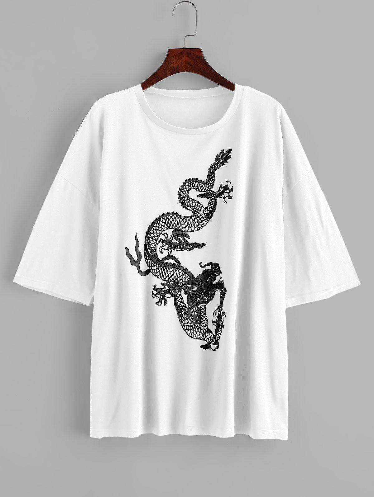 Dragon Print Short Sleeves Longline Tee
