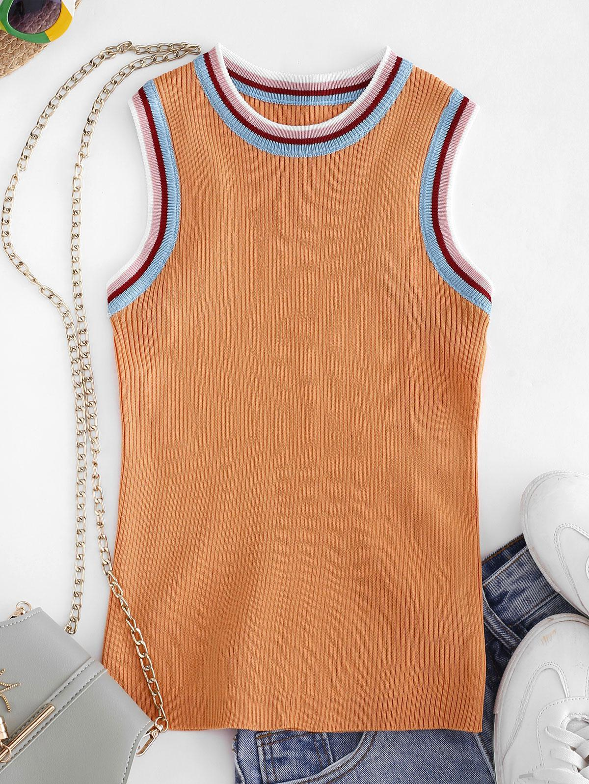 Crew Neck Stripes Panel Knitted Tank Top