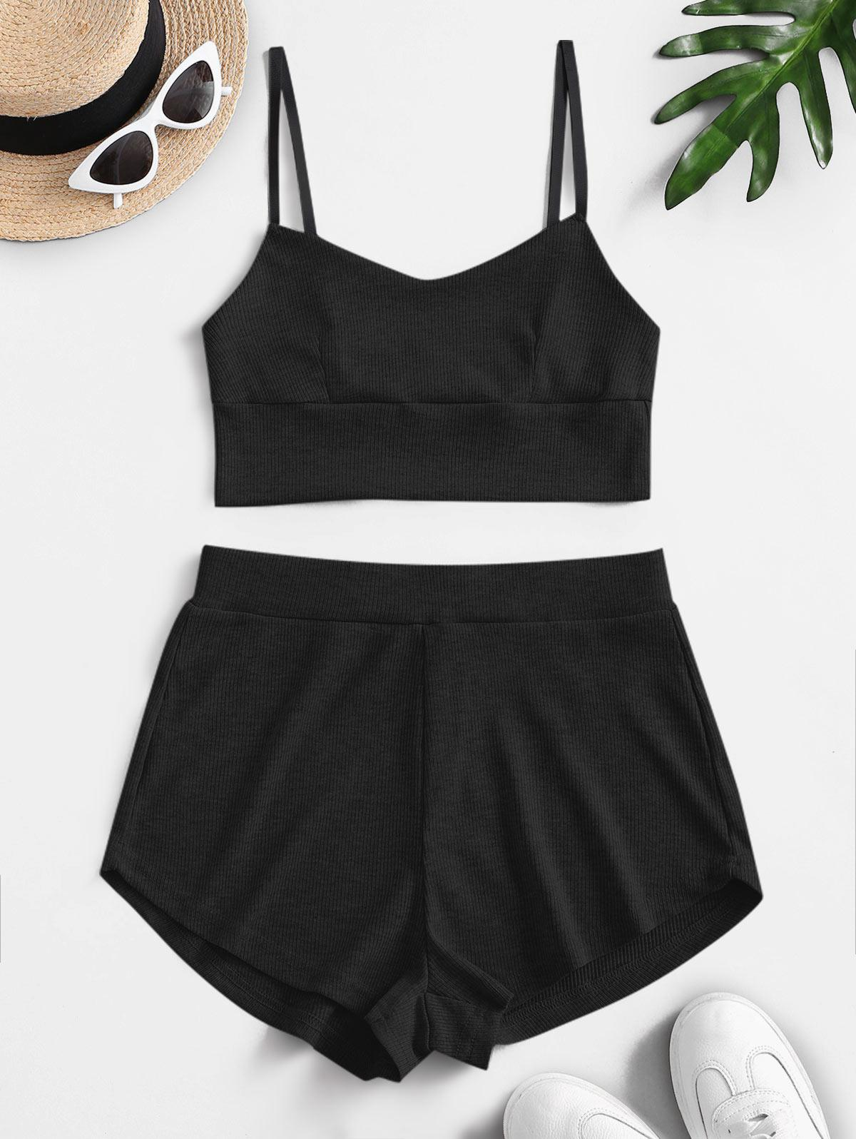 Two Piece Ribbed Bralette Top Set