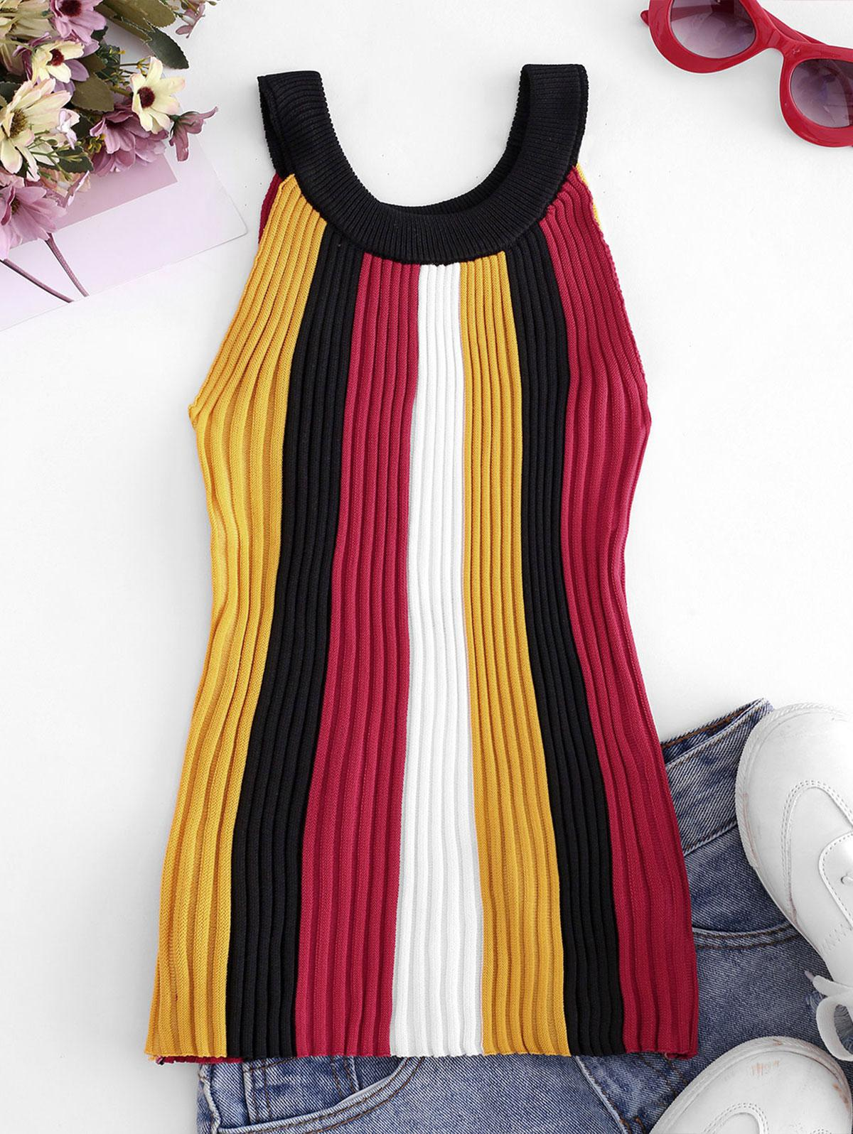 Crew Neck Colorblock Stripes Knitted Tank Top
