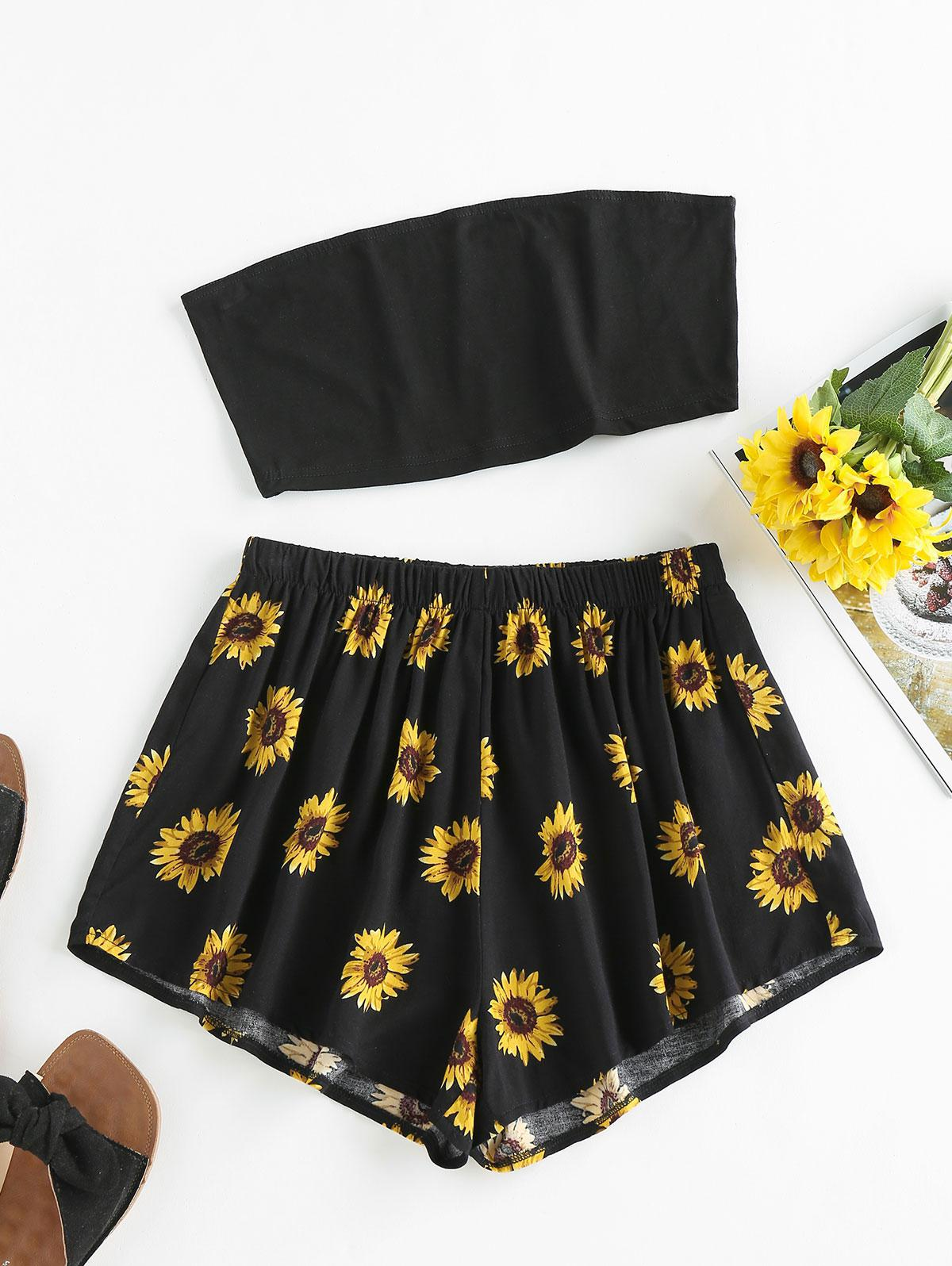 ZAFUL Sunflower Print Strapless Wide Leg Shorts Set