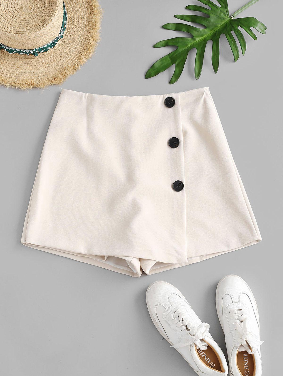 Buttoned Overlap High Waisted Shorts