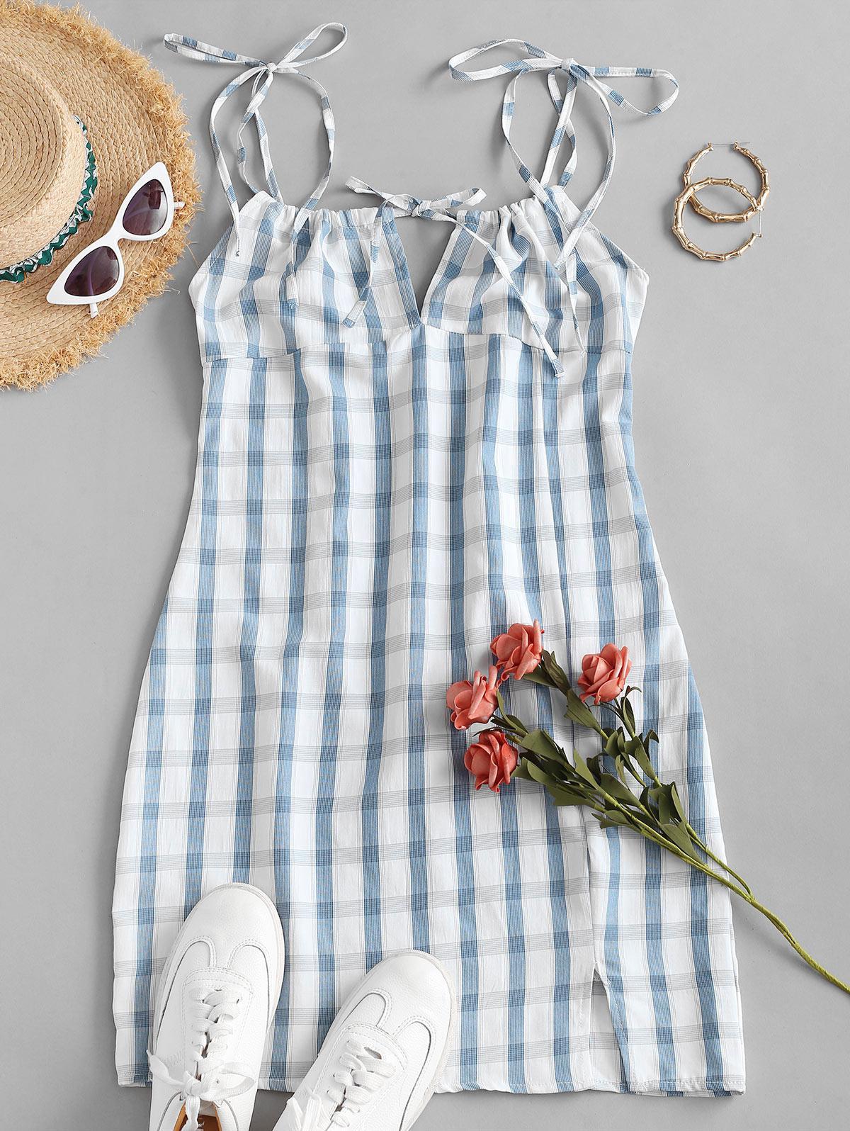 Zaful Plaid Tie Shoulder Slit Dress