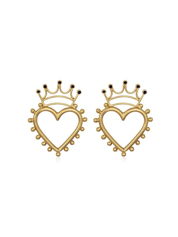 Crown and Heart Stud Earrings