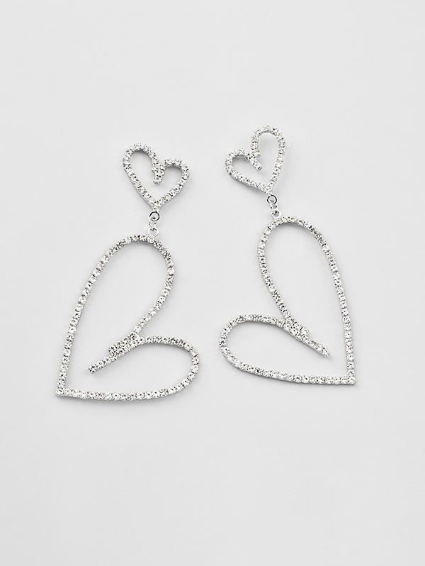 Hollow Hearts Rhinestone Drop Earrings