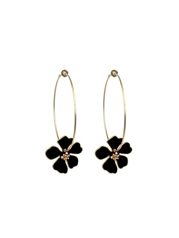 Flowers Big Circle Exaggerated Earrings