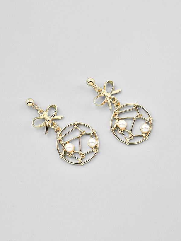 Bowknot Dreamcatcher Hollow Out Faux Pearl Earrings