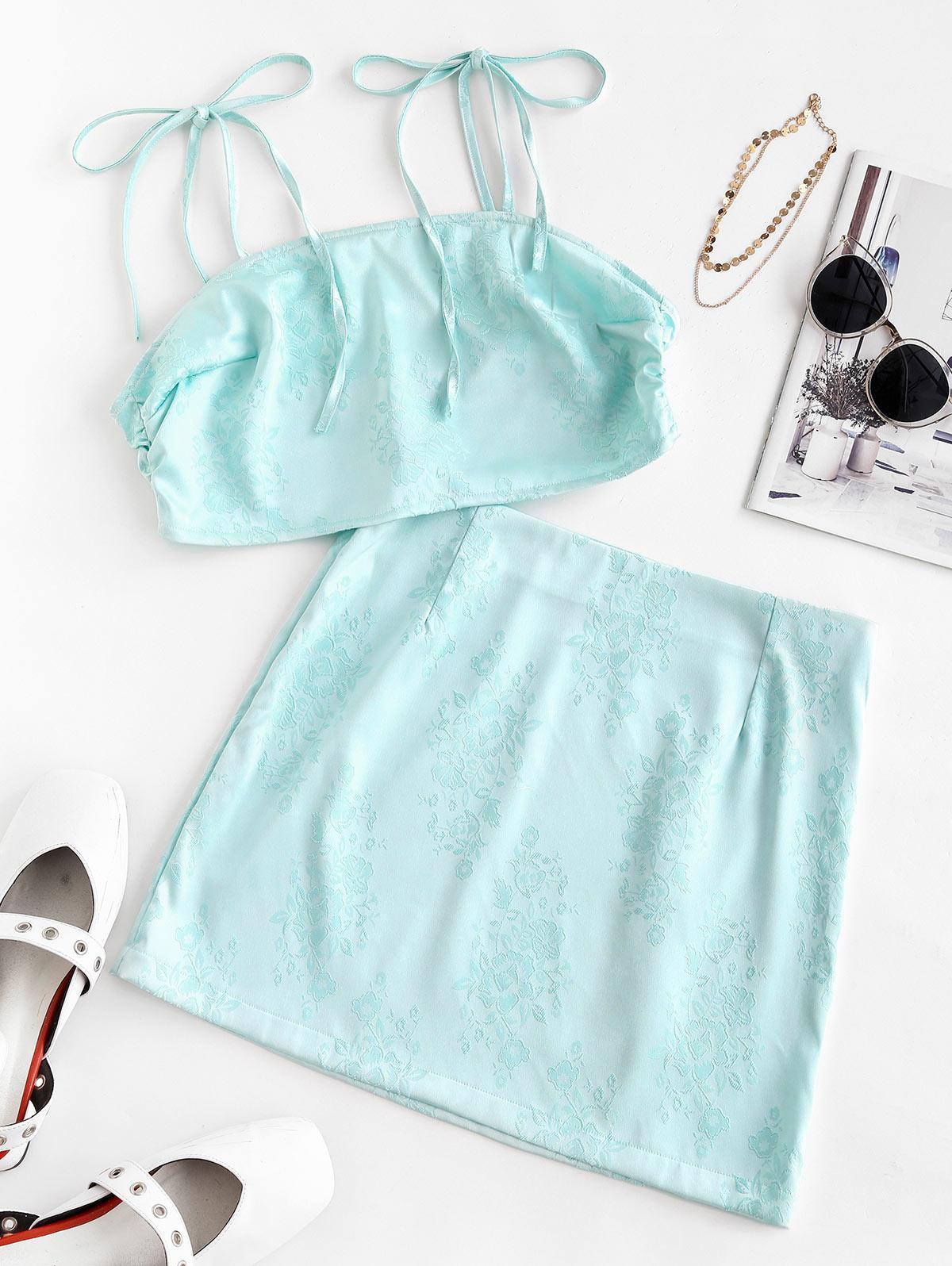 Flower Jacquard Tie Shoulder Mini Skirt Set