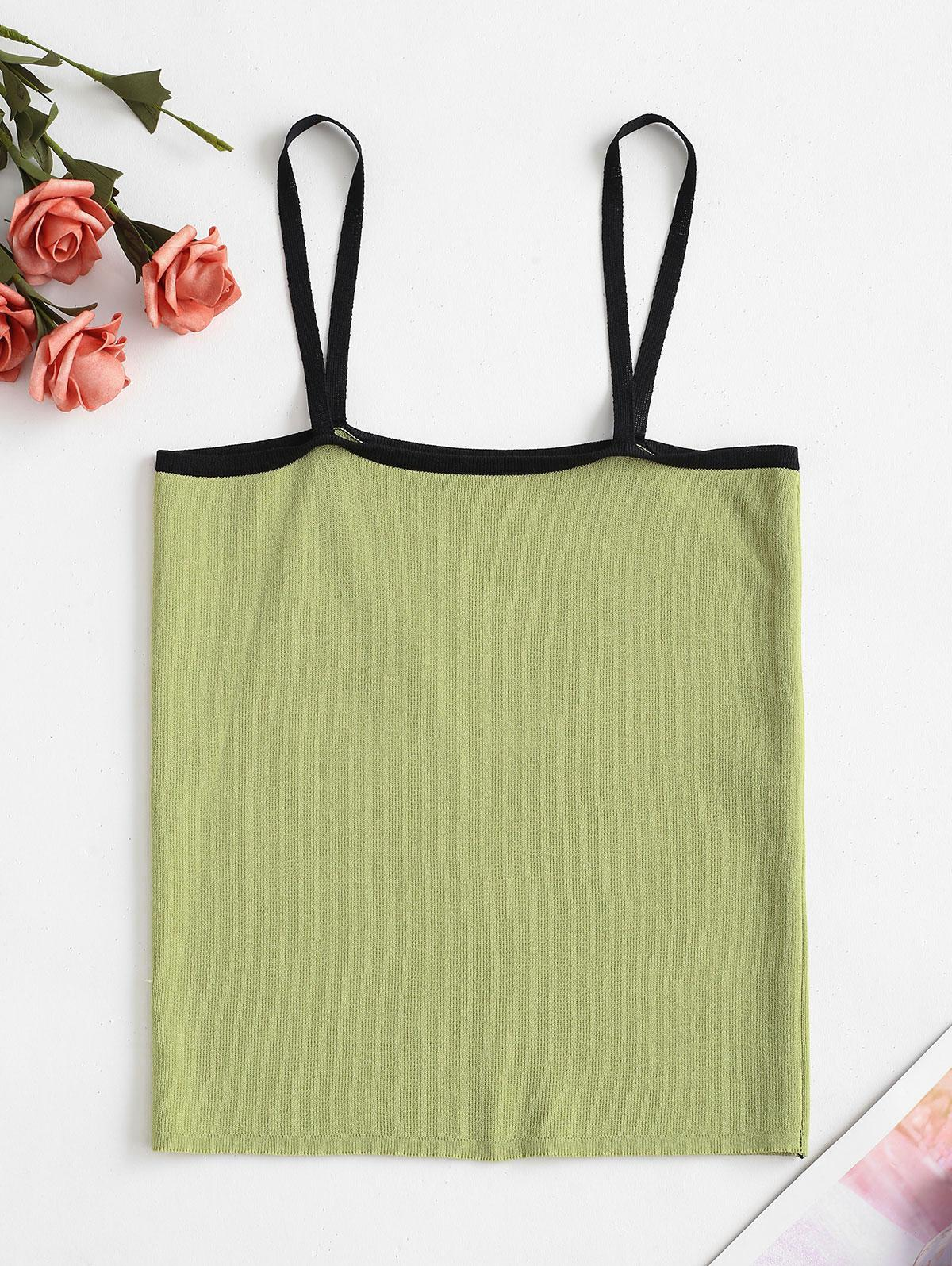 Piping Knit Slim Cami Top