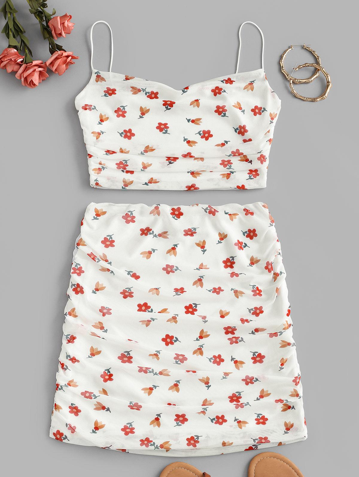 Floral Mesh Ruched Cami Two Piece Set