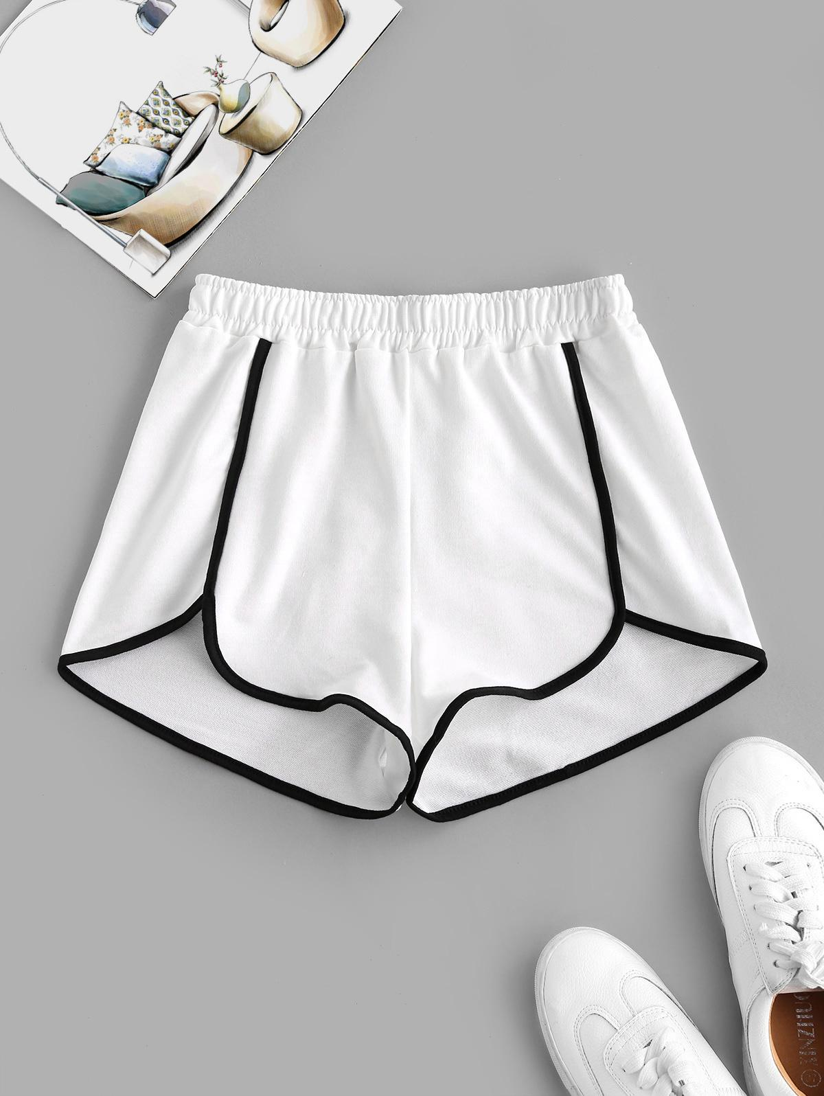 Piping Contrast Dolphin Sweat Shorts