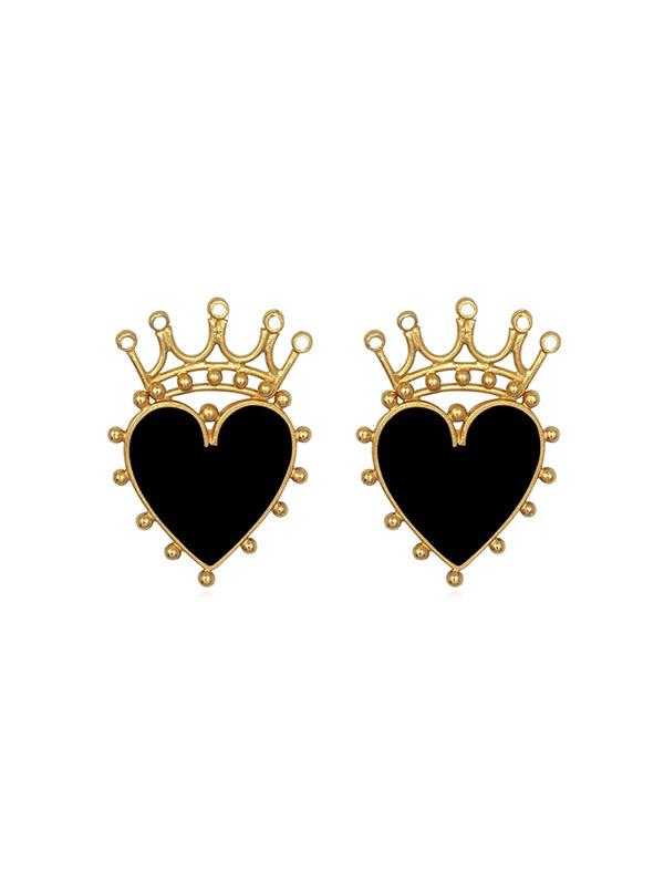Heart Crown Hollow Stud Earrings