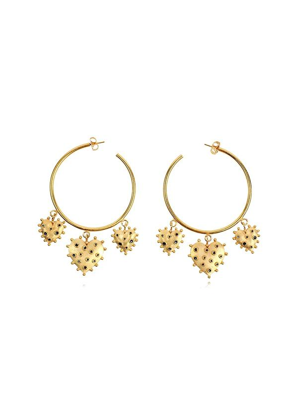 Heart Embellished Hoop Earrings