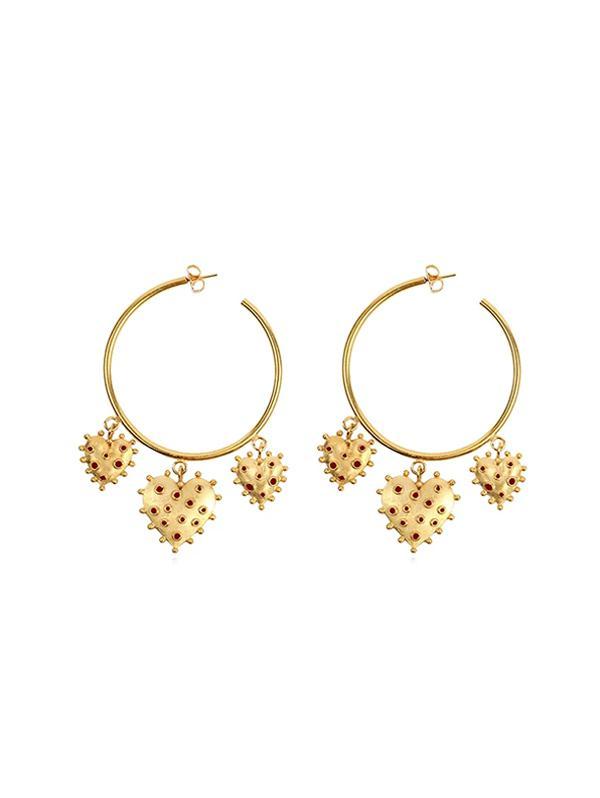 Heart Embellished Hoop Earrings